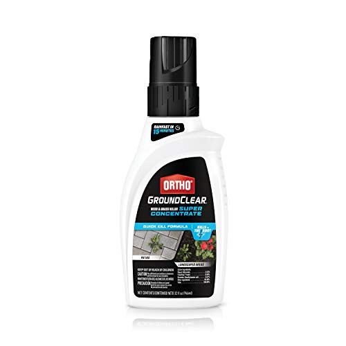 Ortho GroundClear Weed and Grass Killer Super Concentrate - Kills Weeds and Grass, Kills to the Root, Starts Working Immediately, for Patios and Landscaped Areas, 32 fl. oz.