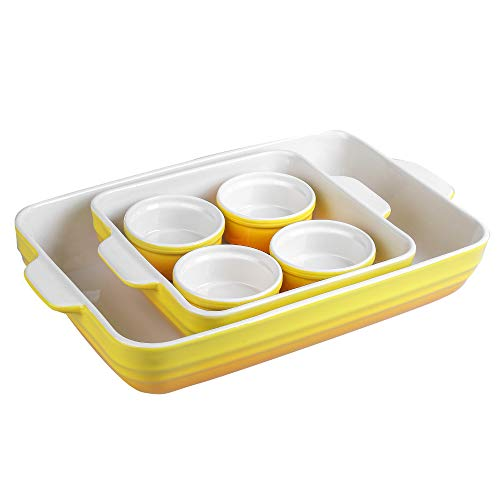 Joyroom Bakeware Set of 6, Ceramic Baking Dish Set Includes 9 x 13 Inches Lasagna Pan, Square Baking Pan and Ramekins for Cooking, Kitchen, Circle Collection (Yellow)
