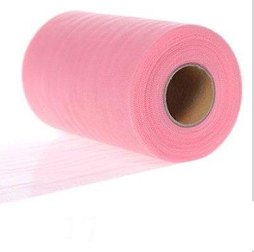 Rollo de tela de tul, bobina de tutú, para fiestas de cumpleaños, envolver manualidades, faldas y lazos de novia y decoración de banquetes, 15 cm x 22 m rosa