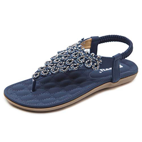 Tianmao Damen Sandalen Sommer Flip Flops Bohemian Flach Zehentrenner mit Strass (40 EU, Blau)