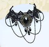 Collar de Encaje de Piedras Preciosas Grandes Clavícula Piedras Preciosas Colgante de Joyería de Moda, WOZUIMEI, negro, 21-50cm