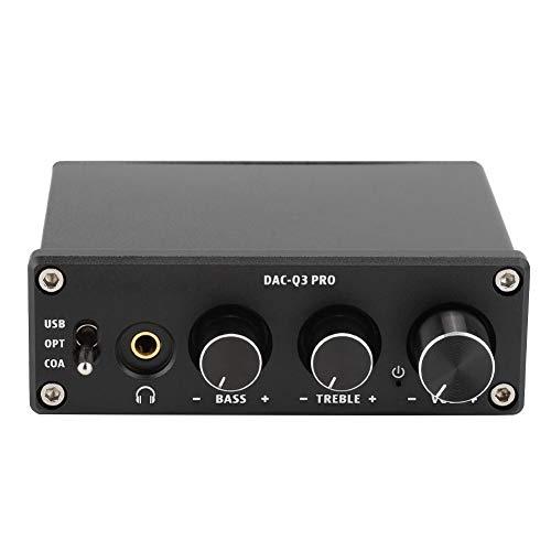 Audio Decoder, Audio Gear Digital Sound Decoder Konverter, PRO DAC Decodierung Audio Decoder mit Kopfhörerverstärker für 3.5MM Kopfhörer(Schwarz)