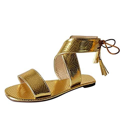 Julhold Sandalen Offen Strandschuhe Hauschuhe Mode Frauen Schleifen Korkoptik Sommer Schnürung Strand Quaste Open Toe Atmungsaktive Sandalen Schuhe Freizeit Offene Slide Sandalen(Gold,39)