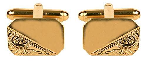 DLC Rect 1/3Gravur Sparen, Manschettenknöpfe Gold Teller 16x 11mm