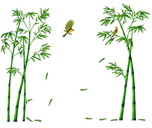 COVPAW® Wandtattoo Wandaufkleber XXL Bambus Grün Wandsticker Wandbild Bilder Wohnzimmer Schlafzimmer Deco