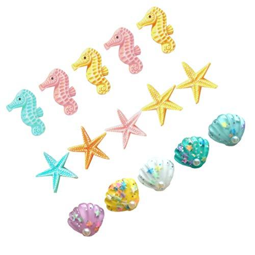 IMIKEYA 15pcs Ocean Star Shell Charms Set Sea Resin Flatback DIY Material Resin Cabochons for DIY Craft Scrapbooking Phone Christmmas Party DIY Supply (Random Color)