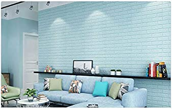 NK-STORE's Waterproof Self-Adhesive 3D Wall Sticker for Home Living Room Bedroom Background Wall Decoration Brick Textured Wall Panels Peel and Stick (5, Sky Blue)
