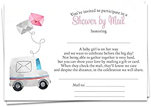 Baby Shower by Mail Fill in The Blank Invitations Virtual Shower Invites Girls It's a Girl Pink Facebook Zoom Facetime Skype Long Distance Virtual Party Drive by Parade Printed Cards (24 Count)