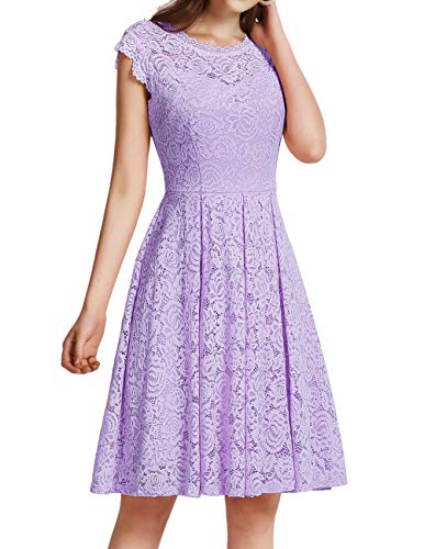 Meetjen Women's Vintage Floral Lace Cocktail Dress Homecoming Prom Dress Cap-Sleeves Lavender 3XL