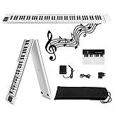 Piano eléctrico plegable de 88 teclas,Kacsoo- con Bluetooth, MIDI, pedal Sostenuto, aplicación inteligente con práctica de interpretación, 128 tipos de voz de piano electrónico