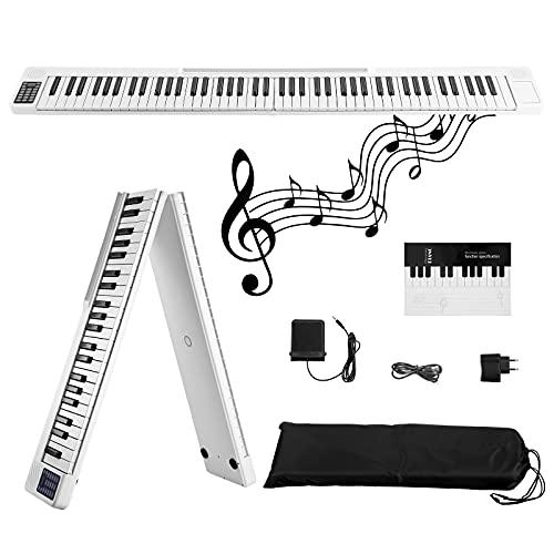 Piano digital plegable 88 teclas,Kacsoo-piano de teclado digital con 128 tonos/Bluetooth/pedal de sostenido/aplicación inteligente, para practicar para principiantes, toque de piano real