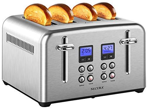 Secura Tostadora 4 rebanadas de acero inoxidable extra anchas ranuras para pan de bagel con función de recalentamiento descongelado, bandeja extraíble para migas tamaño compacto
