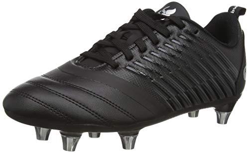 Canterbury Boys' Stampede 3.0 Plus Junior Soft Ground Rugby Boot, Black/Dark Grey/Light Silver, 5 UK Medium