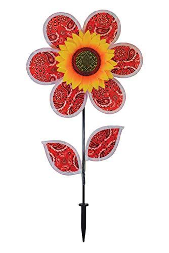 Breeze In The 12 Inch Paisley Sunflower Wind Spinner with Leaves Sonnenblumen-Windspiel mit Blättern – Bunte Blume für Ihren Hof und Garten, Paisleymuster