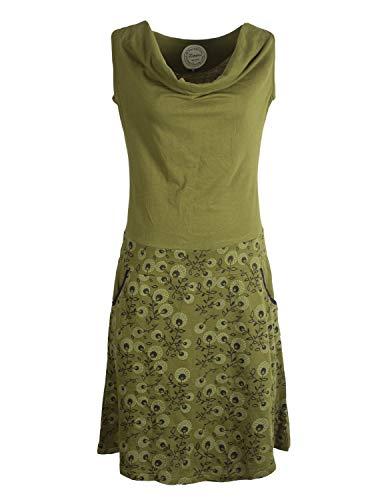 Vishes - Alternative Bekleidung - Damen Baumwoll-Kleid, Blumen-Muster, Wasserfall-Kragen und Taschen Olive 40