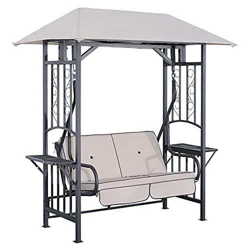 Outsunny Balancelle de Jardin 2 Places Style Colonial Grand Confort Matelas + tablettes Supports métal époxy Gris foncé Polyester Gris Clair