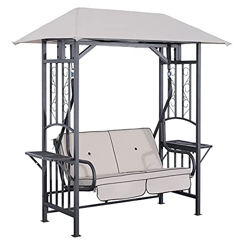 Outsunny Outdoor Garden 2 Seater Canopy Swing Chair Seat Porch Loveseat Vintage Hammock Cushioned Seat w/and Side Drink Panel