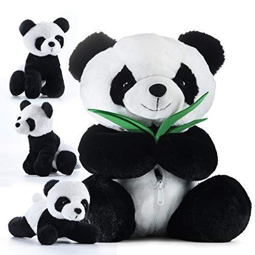 Plush Panda Bear Prextex Large Panda Tummy Carrier with 3 Cute Little Plush Pandas Inside its Zippered Tummy Great Set for Kids