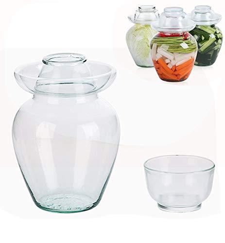 Kimchi Jars with Lids Fermenting Vegetable Jar Traditional Sealed Glass Fermenting Jar Transparent Pickling Jar Thicken Household Pickle Jar,5000ml