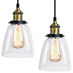 Vintage Clear Glass Lamp Shade With Bronze Ceiling Pendant Fitting High Quality And Robust Takes E27 Edison Screw Bulb (not included) 240v Lovely Ceiling Light Ideal For Bars Clubs Restuarants And Home Looks Fantastic With A Vintage Style Bulb
