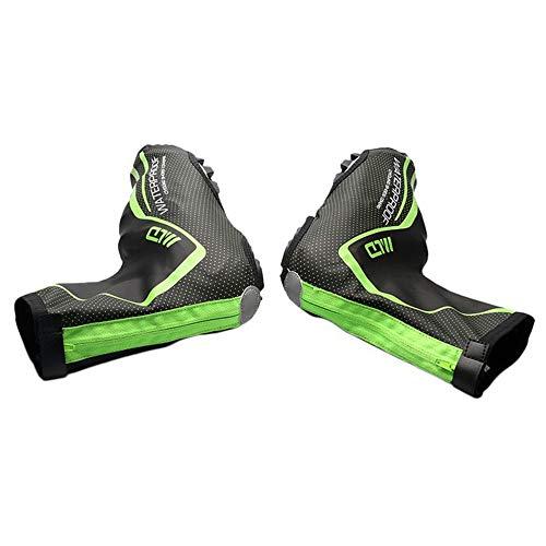 Ryyland-Home Cubierta Impermeable para Zapatos Cubrezapatos Invierno PU Fluffy Impermeable Cubierta de Zapato con Cerradura Tela cálida Bicicleta de montaña Montar Cubierta de Zapato Impermeable