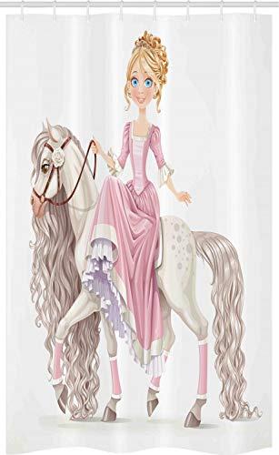 ABAKUHAUS Feminin Schmaler Duschvorhang, Prinzessin auf weißem Pferd, Badezimmer Deko Set aus Stoff mit Haken, 120 x 180 cm, Creme Rosa
