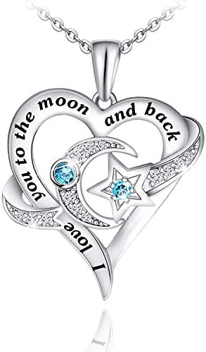Distance Heart Necklace for Women 925 Sterling Silver Moon Star Necklace Engraved I Love You product image