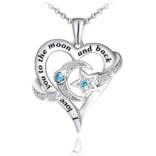 Distance Heart Necklace for Women 925 Sterling Silver Moon Star Necklace Engraved I Love You to The...