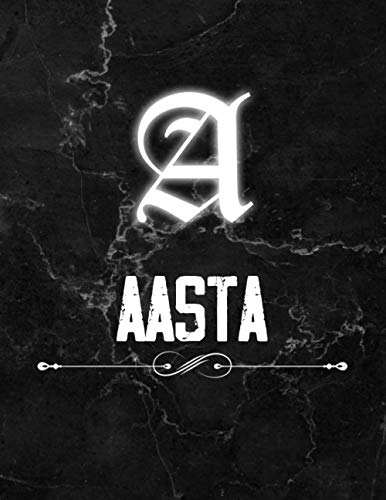 Aasta: Perfect Personalized Lined Notebook & Journal birthday gift idea with name for Aasta with Monogram Initial Capital Letter Aasta and Handmade ... Marble and White Light Neon Design (8.5x11)