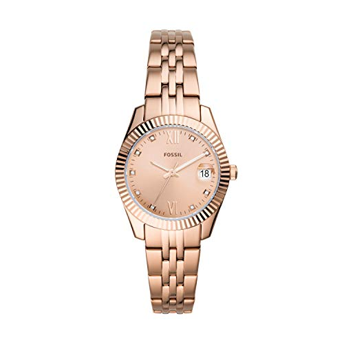 Fossil Women's Scarlette Mini Quartz Watch with Stainless Steel Strap, Rose Gold, 16 (Model: ES4898)