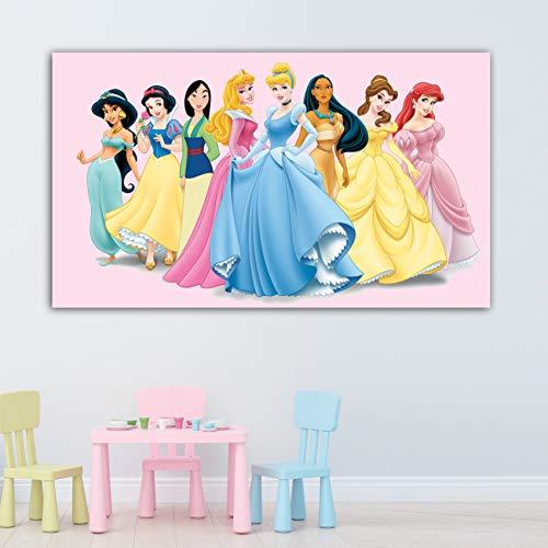 Desconocido Cuadro Lienzo Infantil Princesas Disney – Varias Medidas - Lienzo de Tela Bastidor de Madera de 3 cm - Impresion Alta resolucion (50, 29)