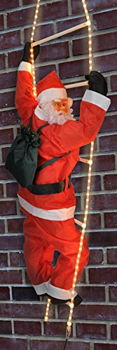 Spetebo Weihnachtsmann auf Leiter - beleuchtete Leiter mit 4m LED Lichtschlauch