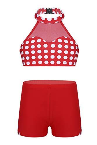 CHICTRY Chicas Conjunto Deportivas de Gimnasia Traje Danza Crop Tops Pantalones Cortos Deportivas Traje de Baño Dos Piezas Lunares Niña 6-14 Años Rojo 5-6 Años