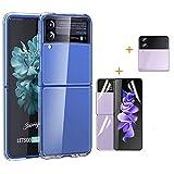 FTRONGRT Funda para Samsung Galaxy Z Flip 3, Estuche para Teléfono Móvil + Película de Pantalla + Película Trasera + Película de Lente, Película Protectora Samsung Galaxy Z Flip 3.Transparente