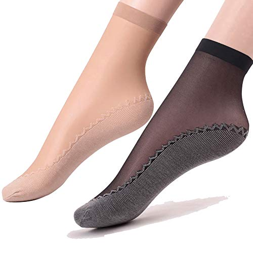 Ueither Women's 6 Pairs Silky Anti-Slip Cotton Sole Sheer Ankle High Tights Hosiery Socks Reinforced Toe (4 Pairs Beige & 2 Pairs Black)(Size: One Size)