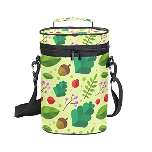 FANTAZIO Weinkühler mit Blättern und Nüssen isoliert, auslaufsicher, gepolstert, für 2 Flaschen, Tragetasche für Reisen, Camping und Picknick