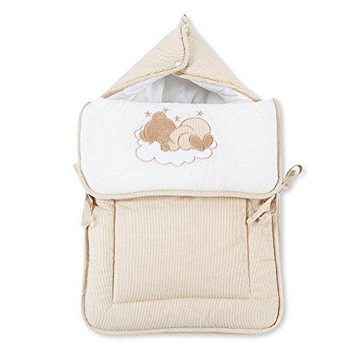 Fußsack Einschlagdecke Decke für Kinderwagen, Babyschale & Maxi Cosi Baumwolle, Farbe:Beige