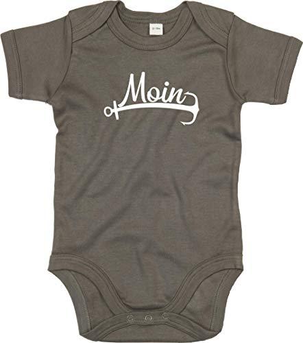 Kleckerliese Body à manches courtes pour bébé Motif Moin Anker mer Heimat - Vert - 6-12 mois