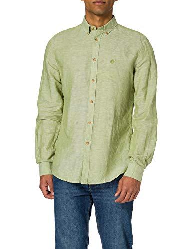 Springfield Camisa Lino, Verde, M para Hombre