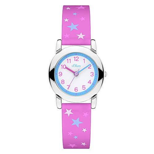 s.Oliver Mädchen Analog Quarz Uhr mit Silikon Armband SO-4325-PQ