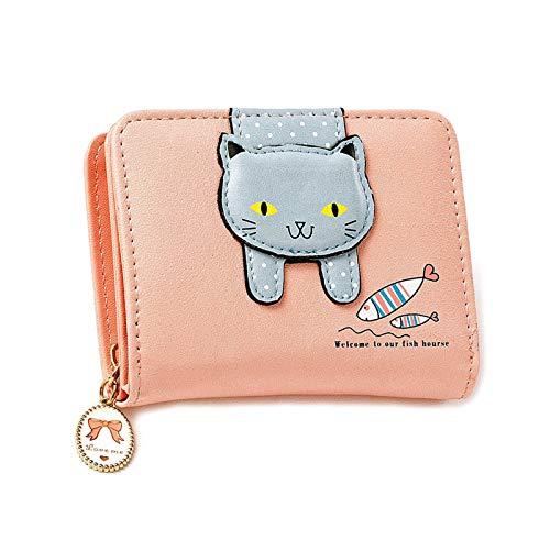 Damen Karikatur Katzen Portemonnaie, Katze Dekoration Reißverschluss Geldbörse, Leder Kleine Geldbörse mit Reißverschluss, Geschenke für Mädchen (Rosa)