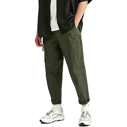 Pantalones Casuales para Hombre, Color sólido, Ajustado, Cintura elástica, Lavado, clásico, básico, Todo fósforo, Pantalones Casuales hasta el Tobillo 36