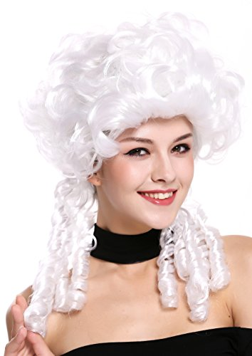 WIG ME UP - DH1009-ZA62 Perücke Damen Karneval Barock Renaissance Romantik Spirallocken Hofdame Locken toupiert Weiß
