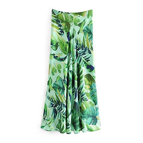 Bohemian Style lange Maxi rok Vrouwen Stijlvol Leaves Gedrukt Beach Shorts Vrouwen hoge taille Zijrits Casual plooirok (Color : Print, Size : L)