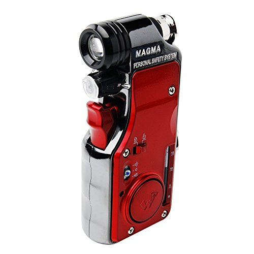 Magma WORLDHUMANTEC Multi-fucntional Portable Self-Defense Security Pepper Spray with Light and Alarm - S2 Red (Advanced Type)