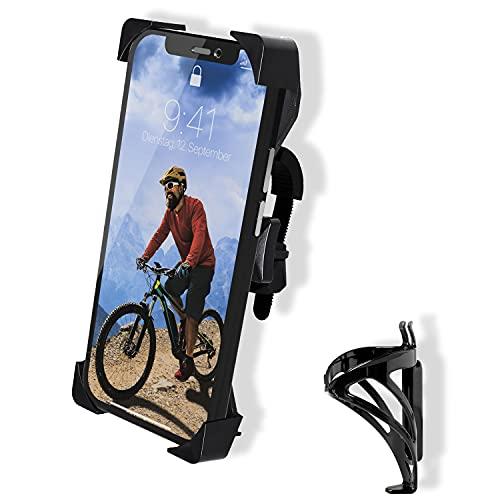CLOUT Handyhalterung Fahrrad (für 4.5 - 8,1 Zoll Handys) - Smartphone Halterung mit 360° Rotation mit Flaschenhalterung - für Motorrad & Mountainbike