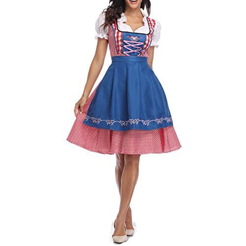 Women's German Oktoberfest Costume Adult Dirndl Traditional Bavarian Beer Carnival Fraulein Cosplay Maid Dress Outfit (37# Blue, XL)