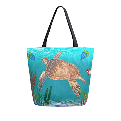 AHYLCL Ocean Turtle Animals Fish Tote Bag Canvas Shoulder Bag Reusable Large Multipurpose Use Handbag for Work School Shopping Outdoor