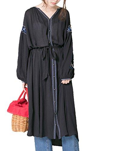 (アーバンリサーチ)URBAN RESEARCH 楊柳ボヘミアン刺繍ワンピース UR76-26C003 FREE BLACK
