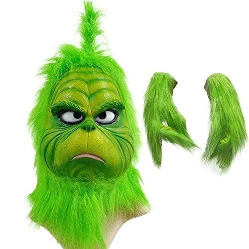 THTH Monstruo y Guantes Verdes Divertidos del Pelo de Grinch, mscara de Payaso Geek navidea Capucha de ltex Disfraz de Fiesta de Navidad Cosplay Burlesque (Sombreros + Guantes)